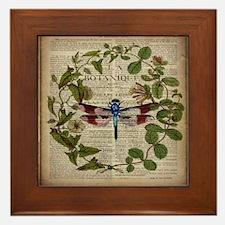 vintage botanical dragonfly Framed Tile