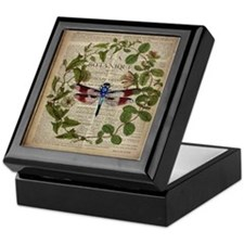 vintage botanical dragonfly Keepsake Box