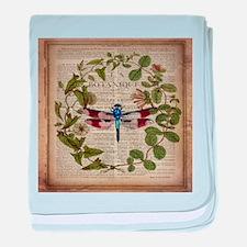 vintage botanical dragonfly baby blanket