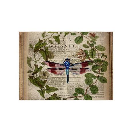 Vintage Botanical Dragonfly 5u0027x7u0027Area Rug