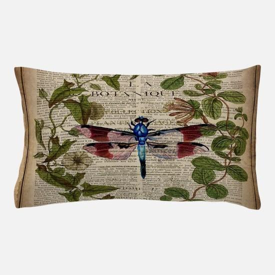 vintage botanical dragonfly Pillow Case