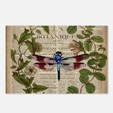 vintage botanical dragonf Postcards (Package of 8)