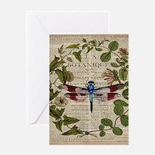 vintage botanical dragonfly Greeting Cards
