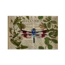 vintage botanical dragonfly Magnets