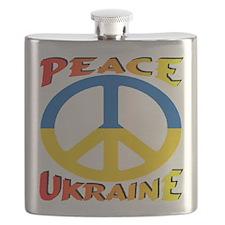 Peace Symbol Ukraine Flask