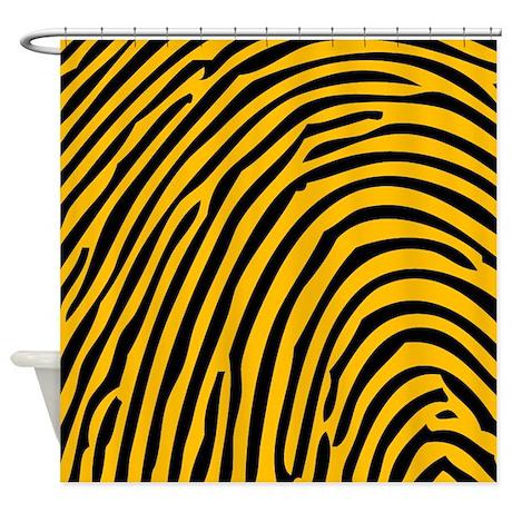 black and yellow fingerprint shower curtain by tuesdayadamsmementos. Black Bedroom Furniture Sets. Home Design Ideas