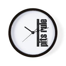 Pits Rule Pit Bulldog Wall Clock