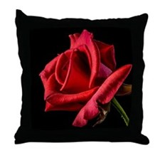 Red Rose Sideways Throw Pillow