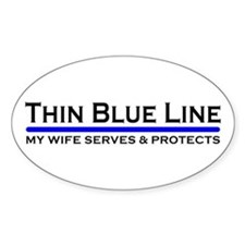 Blue Line Police Husband Oval Decal