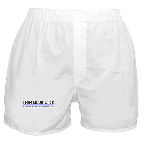 Blue Line Police Husband Boxer Shorts