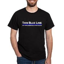 Blue Line Police Husband T-Shirt