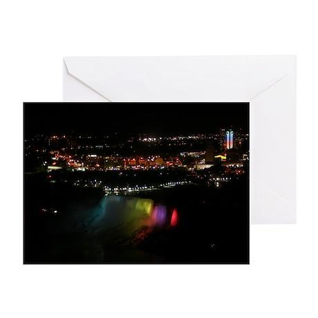 Niagara Falls At Night Greeting Cards (Package of