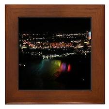 Niagara Falls At Night Framed Tile