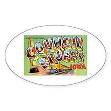 Council Bluffs Iowa Oval Stickers
