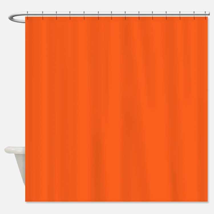 Solid Orange Shower Curtains | Solid Orange Fabric Shower Curtain ...