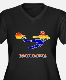 Moldova Soccer Player Women's Plus Size V-Neck Dar