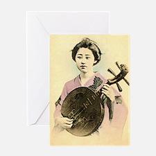 vintage pastel geisha asian Greeting Card