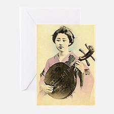 vintage pastel geisha asian Greeting Cards