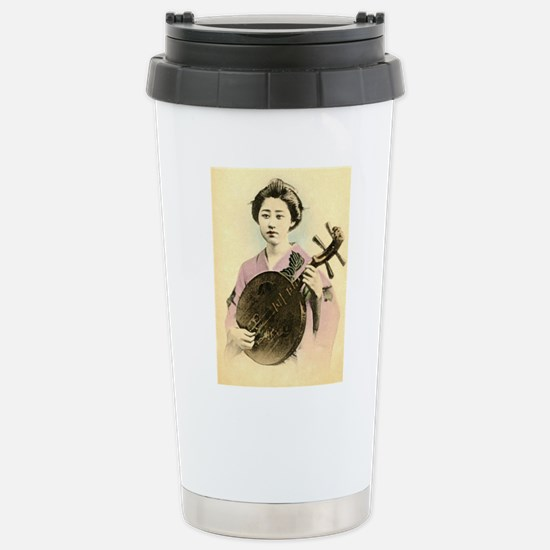 vintage pastel geisha a Stainless Steel Travel Mug