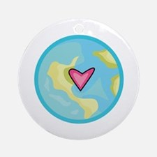 PLANET EARTH WITH HEART Ornament (Round)