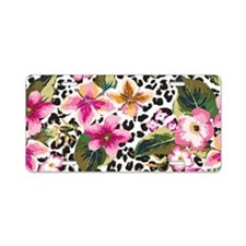 Animal Print Flower Aluminum License Plate