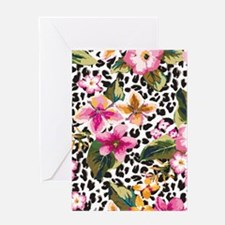 Animal Print Flower Greeting Cards