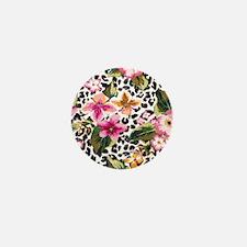 Animal Print Flower Mini Button