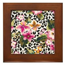 Animal Print Flower Framed Tile