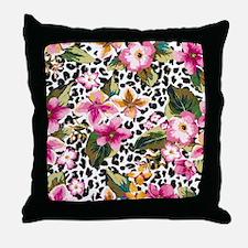 Animal Print Flower Throw Pillow