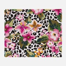 Animal Print Flower Throw Blanket