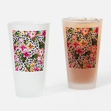 Animal Print Flower Drinking Glass