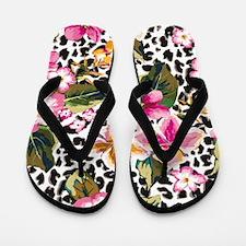 Animal Print Flower Flip Flops