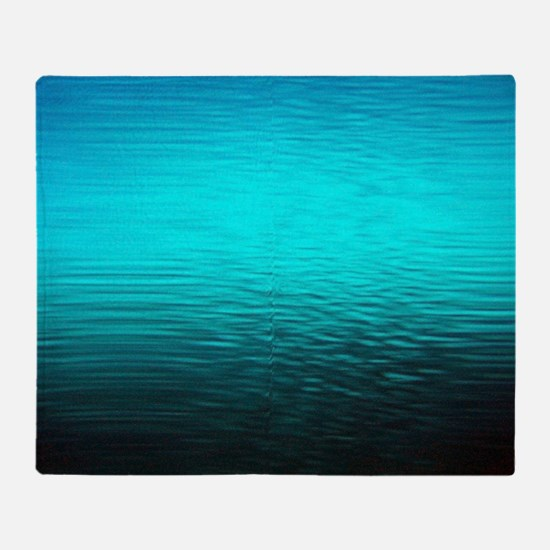 aqua blue water ombre black Throw Blanket