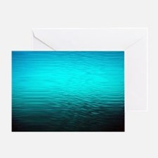 aqua blue water ombre black Greeting Card