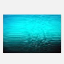 aqua blue water ombre bla Postcards (Package of 8)
