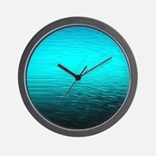 aqua blue water ombre black Wall Clock