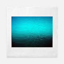 aqua blue water ombre black Queen Duvet