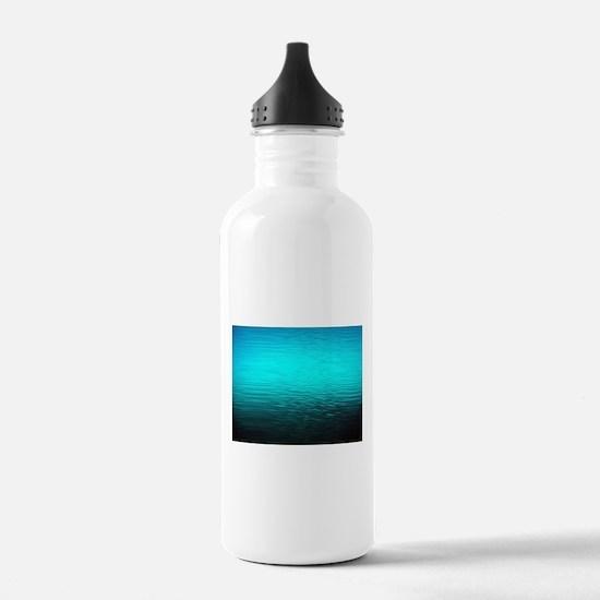 aqua blue water ombre Water Bottle