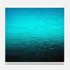 aqua blue water ombre black Tile Coaster