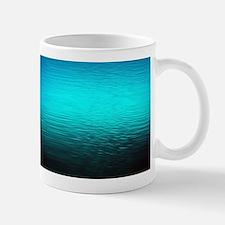 aqua blue water ombre black Mugs