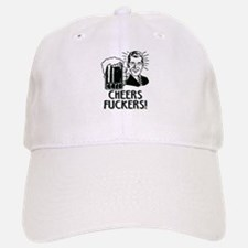 Cheers Fuckers Beer Drinking Humor Baseball Baseball Cap