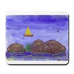Sailboat and Rocks Mousepad