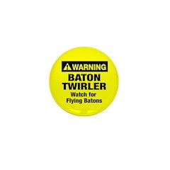 WARNING Baton Twirler Mini Button (100 pack)