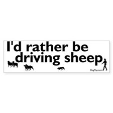 I'd Rather Be Driving Sheep Bumper Car Sticker