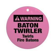 Fire Baton Twirler Ornament (Round)