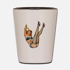 vintage pin up sexy woman Shot Glass