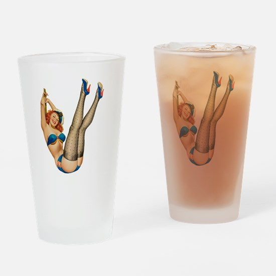 vintage pin up sexy woman Drinking Glass