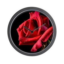 Red Rose Sideways Wall Clock