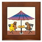 WHEATEN PUPPY CHAT Framed Tile