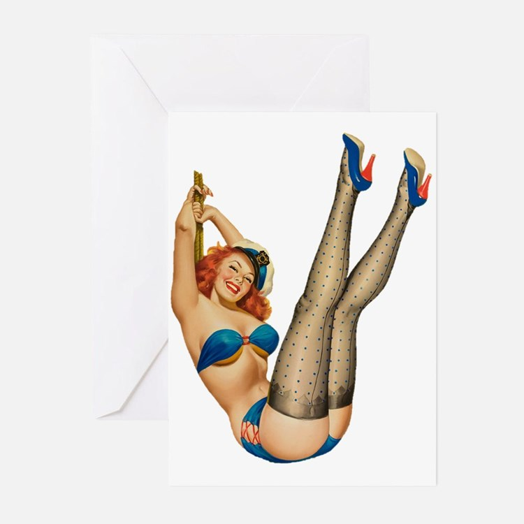 vintage pin up sexy woman Greeting Cards
